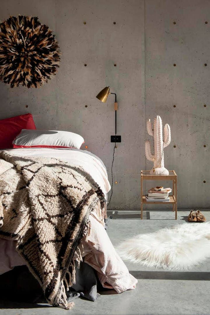 Neutral Bedroom Ideas - Texture in Bedroom with Juju Hat on Wall