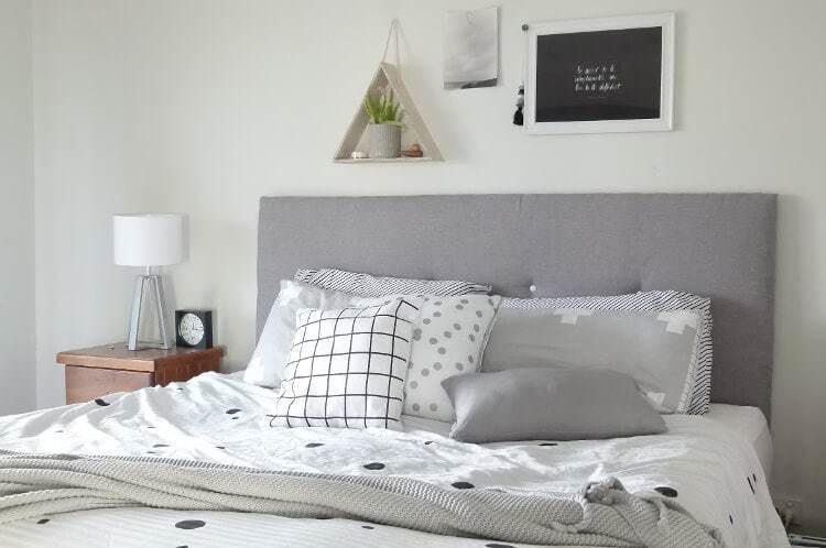 DIY headboard tutorial - finished upholstered headboard