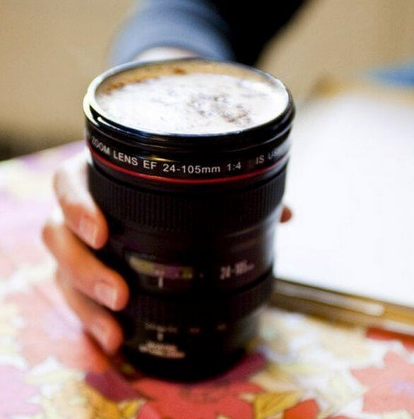 Fathers Day Gift Ideas - Camera lens coffee mug - Yellow Octopus