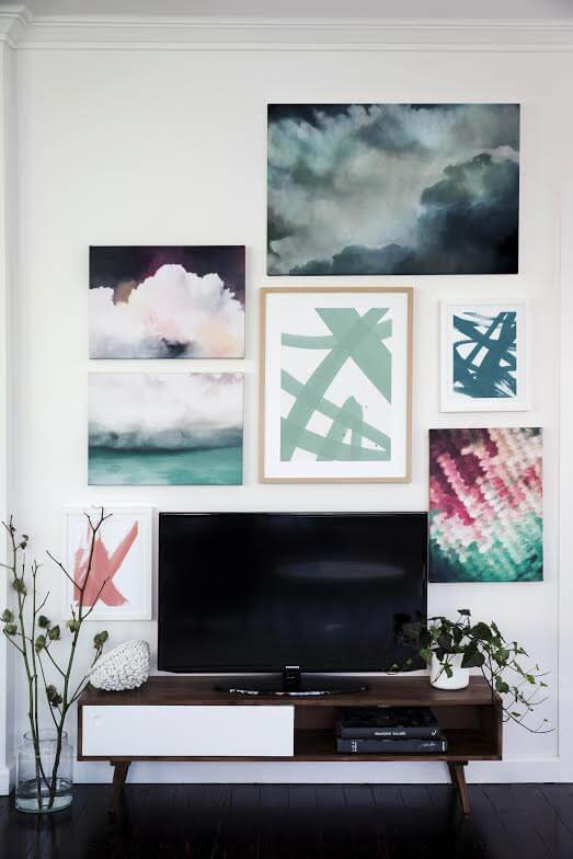 Gallery Wall in Living Room - How to hide a TV - Shaynna Blaze and Urban Road