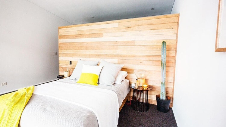 Shannon and Simon Master Bedroom - Wood Wall Panelling - The Block 2014