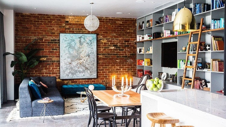 The Block 2014 - Exposed Brick Wall in Living Room - Michael and Carlene