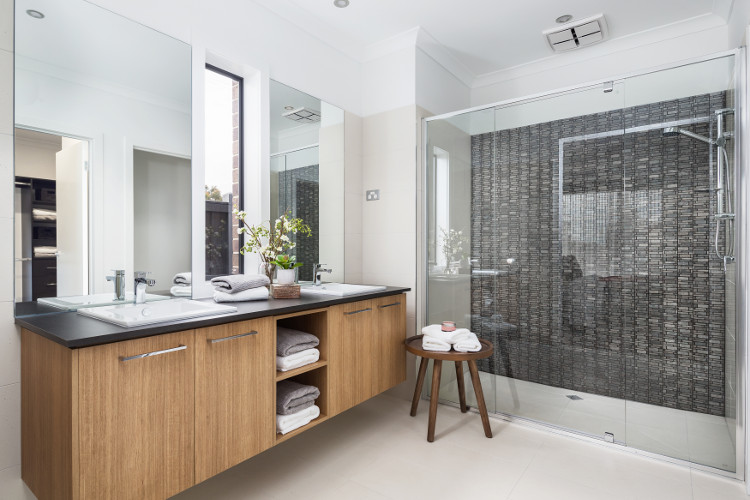 Bathroom feature tiles in Metricon Homes Bathroom