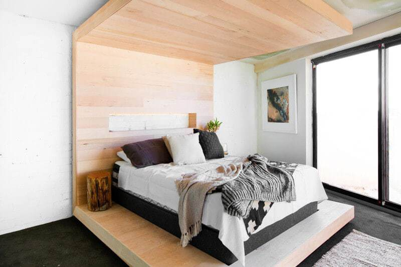 Blocktagon Master Bedroom Reveals Andrew and Whitney Wooden Bedhead and Roof