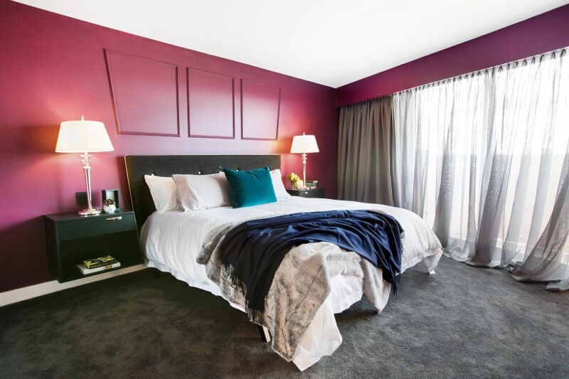 Blocktagon Master Bedroom Reveals Luke and Ebony Pink Wall Bedroom
