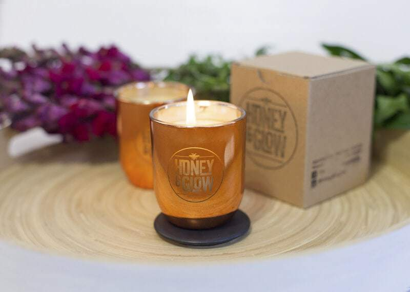 Small Copper Luxe Honey and Glow Metallic Candle 1 TLC Interiors