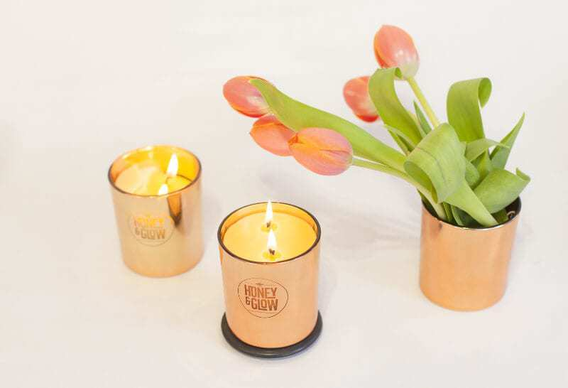 Large Copper Luxe Honey and Glow Beeswax Candles in The Life Creative Shop