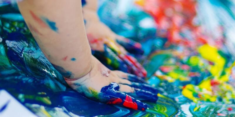 How to make art from kids finger painting work