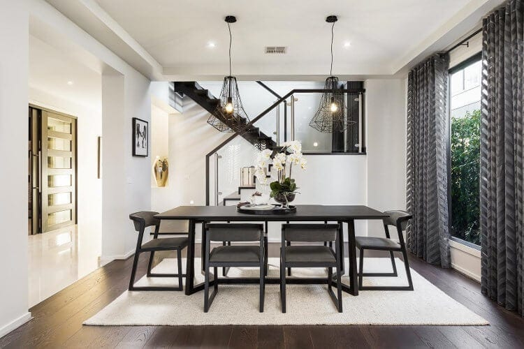 Metricon Homes Black Label Interior Design Scheme - Black and White Dining Room