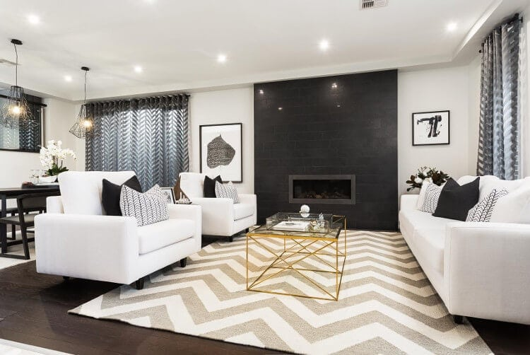 Metricon Homes - Black Label Interior Design Scheme - Chevron rug in living room