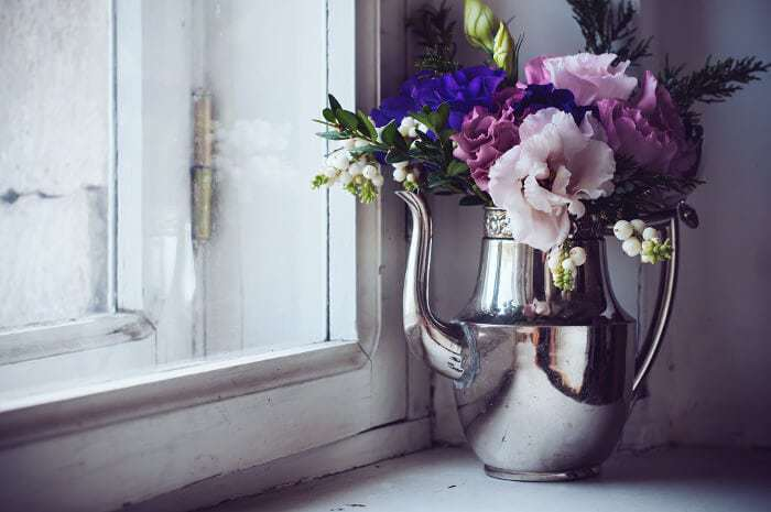 Sustainable House and Green Design - Flowers in Vintage Teapot The Life Creative