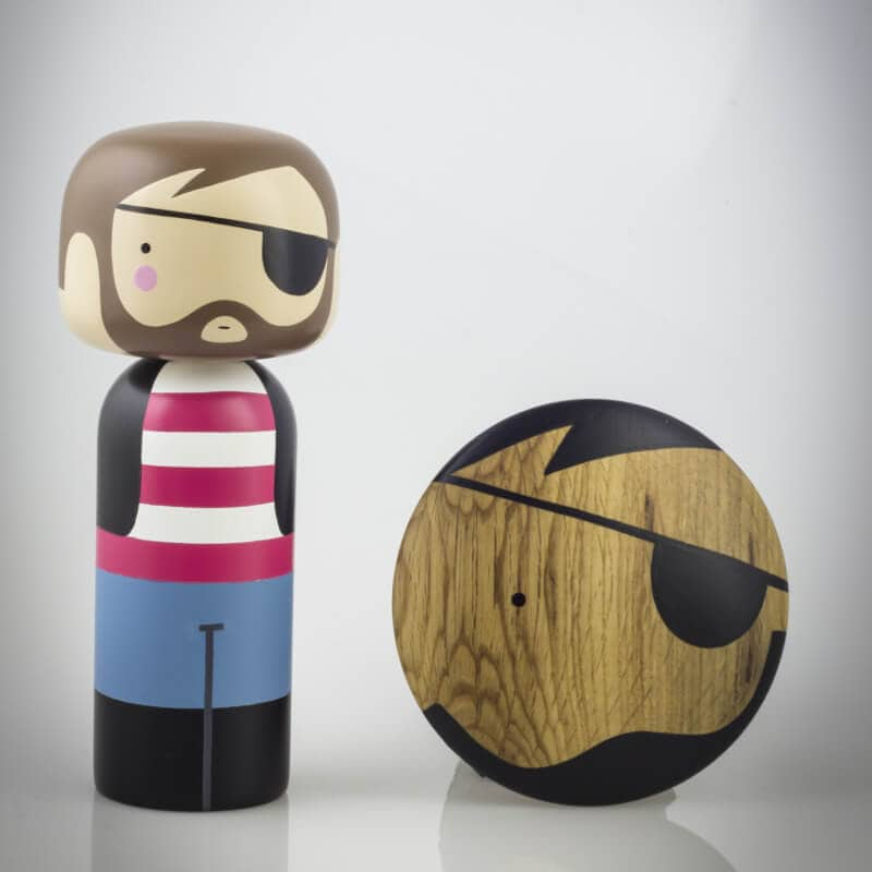 Urbaani Homewares Pirate Kokeshi Doll and Wall Hook The Life Creative Shop