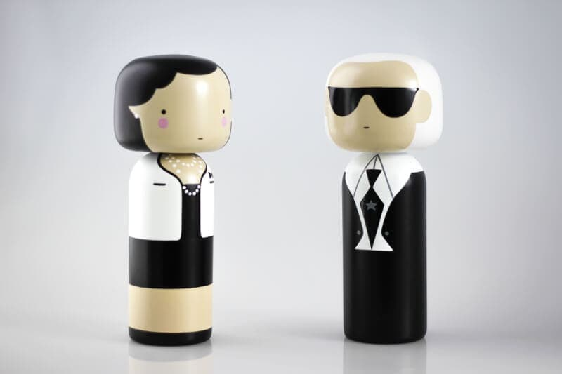 Urbaani Kokeshi Dolls Coco Chanel and Karl Largerfeld The Life Creative Shop