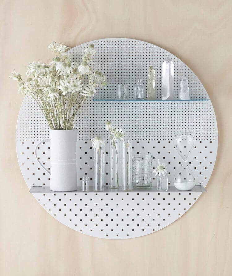 White Circular Mesh Wall Shelf from Bride and Wolfe