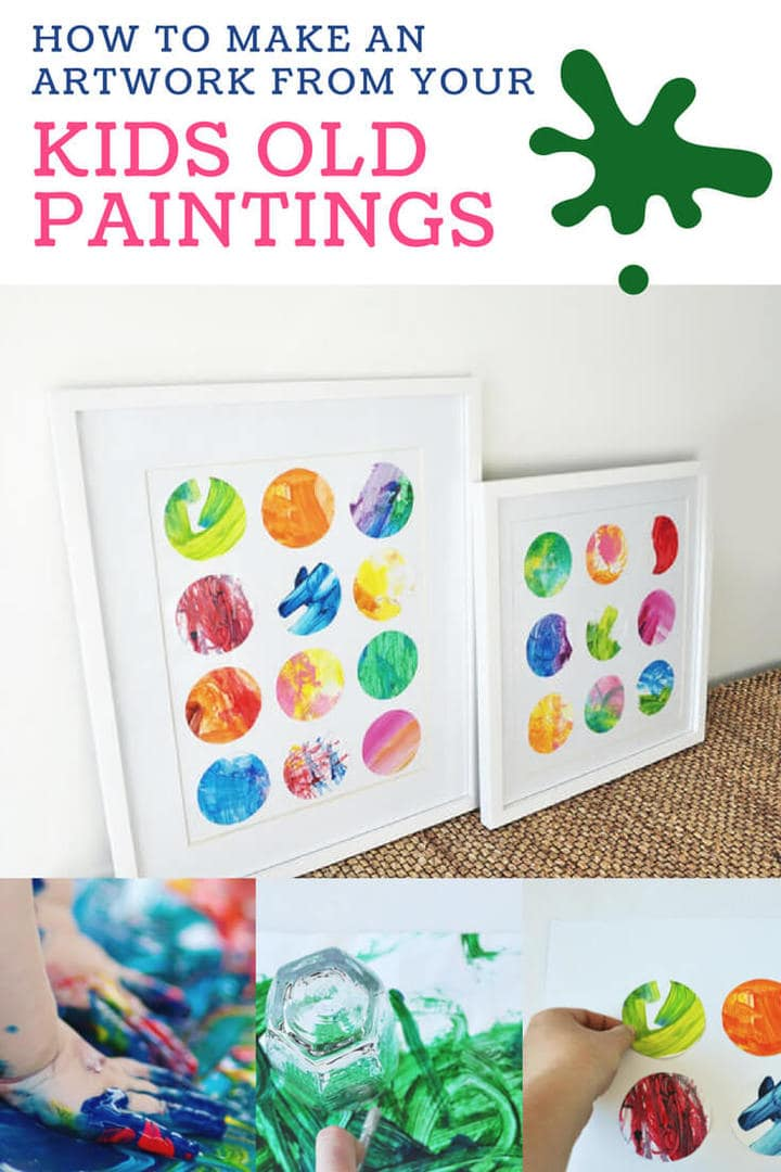 how to make an artwork from your kids old paintings