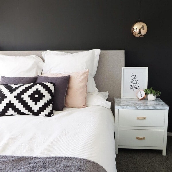 Black Feature wall with marble bedside table on The Life Creative