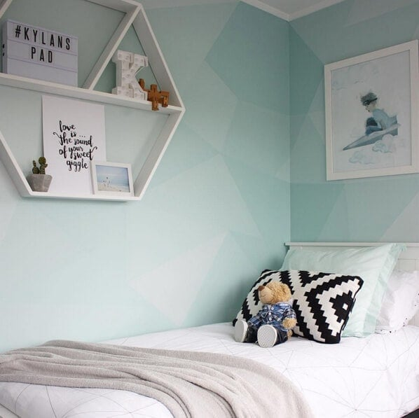 Kids room ideas Mint Green feature wall with geometric pattern