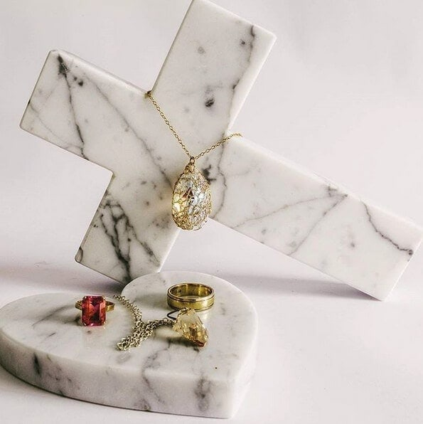 Marble Cross and Marble Love Heart Trivet from Allegra Stone on The Life Creaive