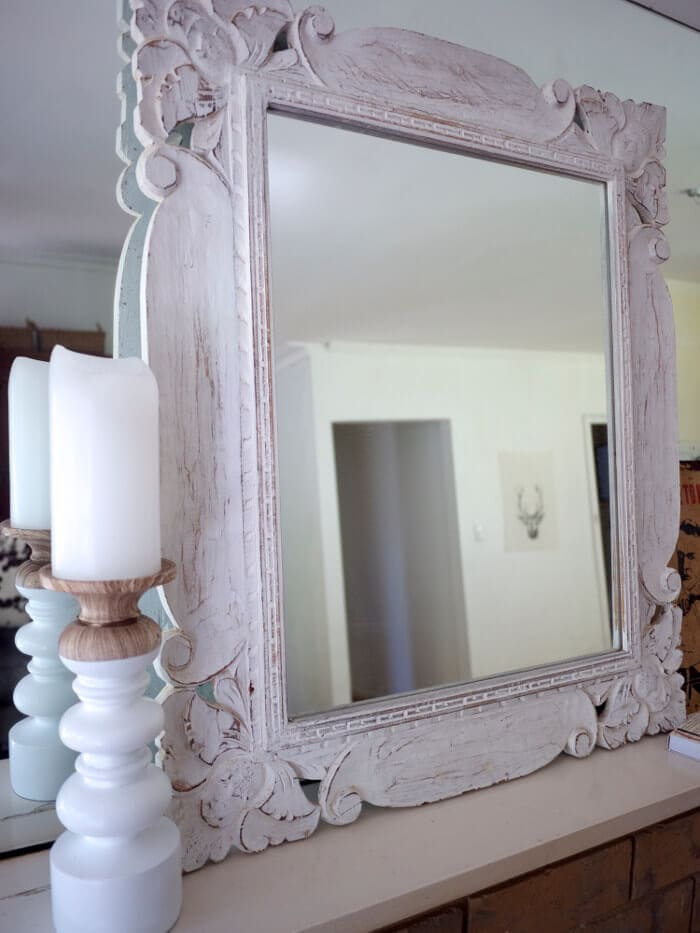 Mornington Peninsula Accommodation Vintage White Mirror frame on Mantle