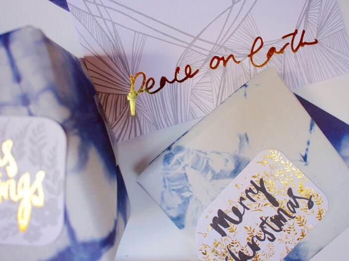 Peace on Earth gold foil Christmas Card by Rachel Kennedy Designs