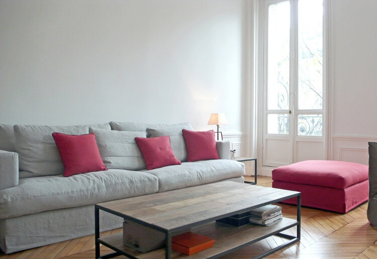 Pink and Grey Interior Design Ideas Pink Cushions on Grey Sofa