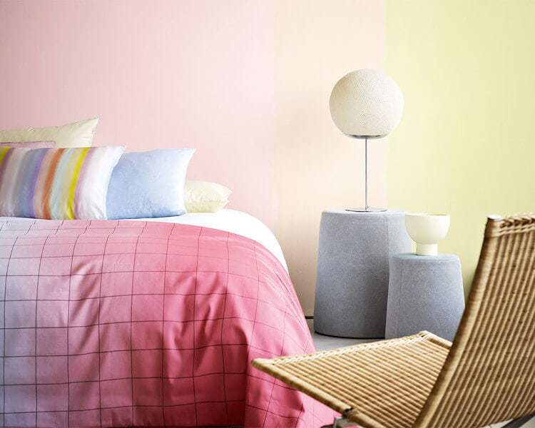 Pink and yellow interior design ideas Pink feature wall
