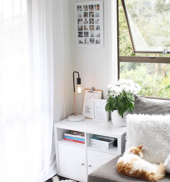 Scandi Living Room Ideas white side table from the Warehouse