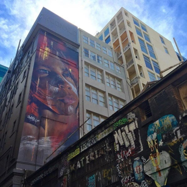 Aboriginal street art in hosier lane Melbourne City