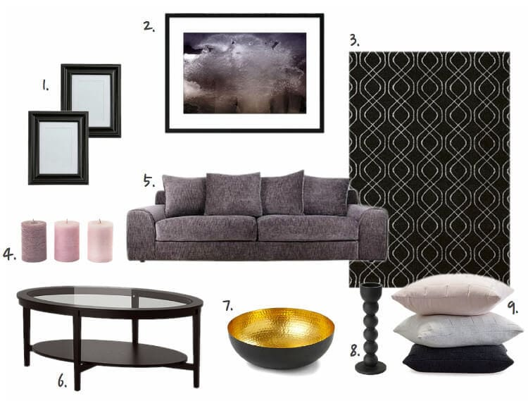 Feminine Living Room Mood Board with Lilac Sofa on The Life Creative