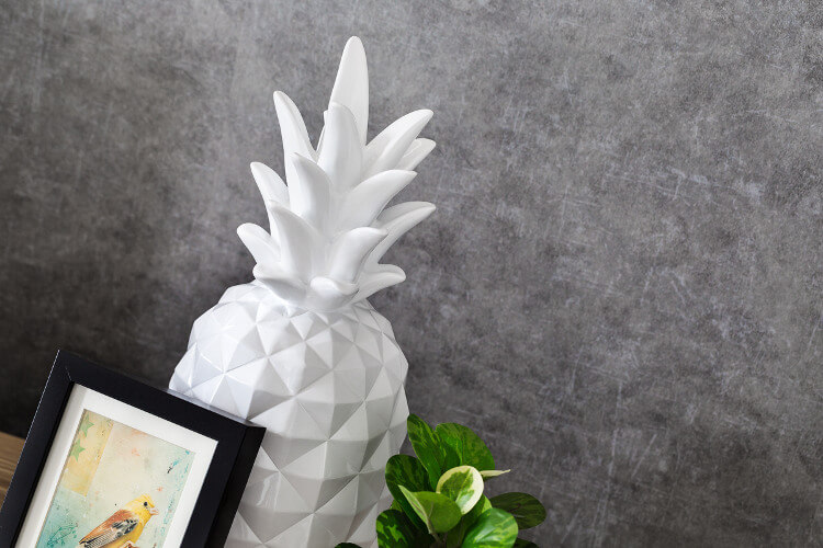 Grey Feature wall Living Room Design Ideas with Ceramic Pineapple