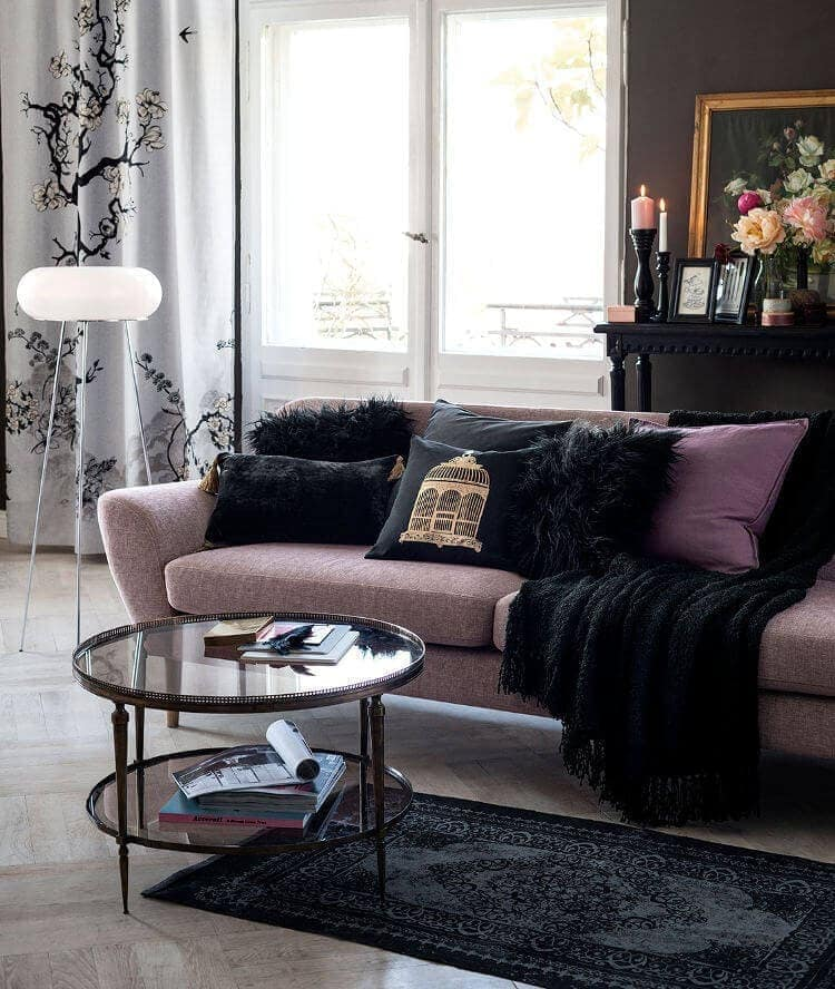 Lilac Sofa in Feminine Living Room ideas on The Life Creative