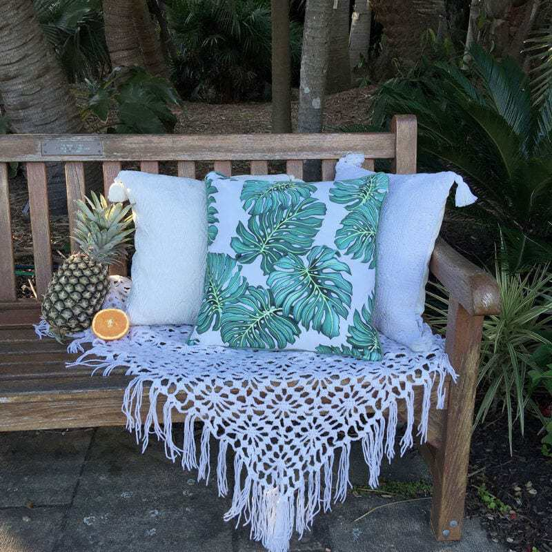 Monstera Leaves and Palm Lace Cushions by Tropical Grace TLC Interiors Shop