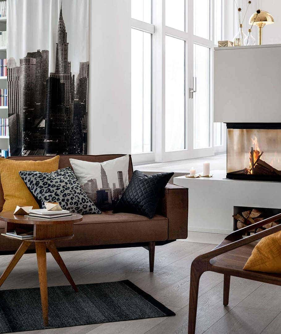 New York Loft Apartment Ideas Brown leather sofa mustard cushions