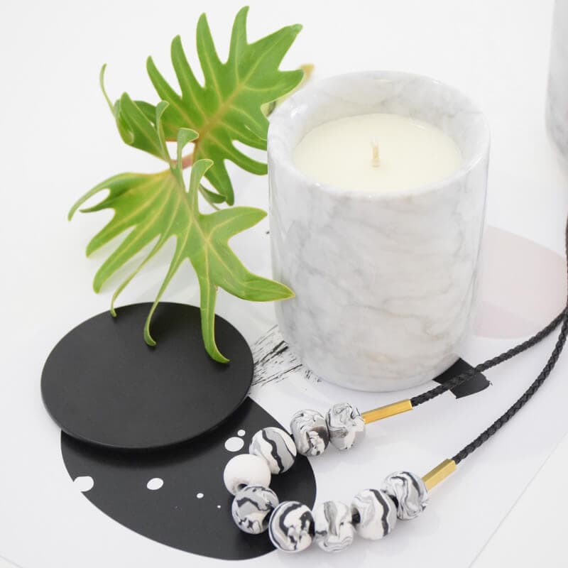 White Marble Candle by Lovely Pair in The LIfe Creative Shop