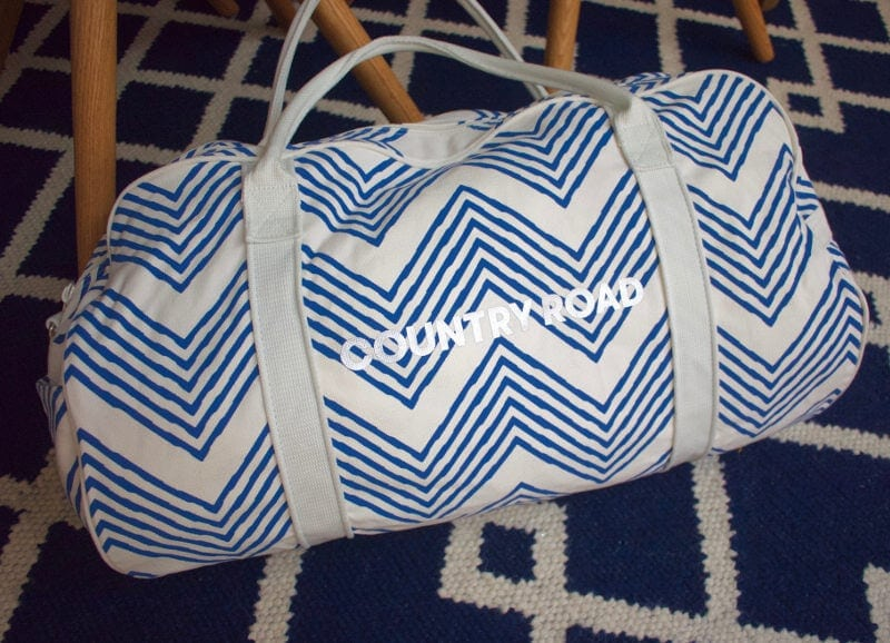 Blue and White Chevron bag from Country Road Beach Bags on The Life Creative