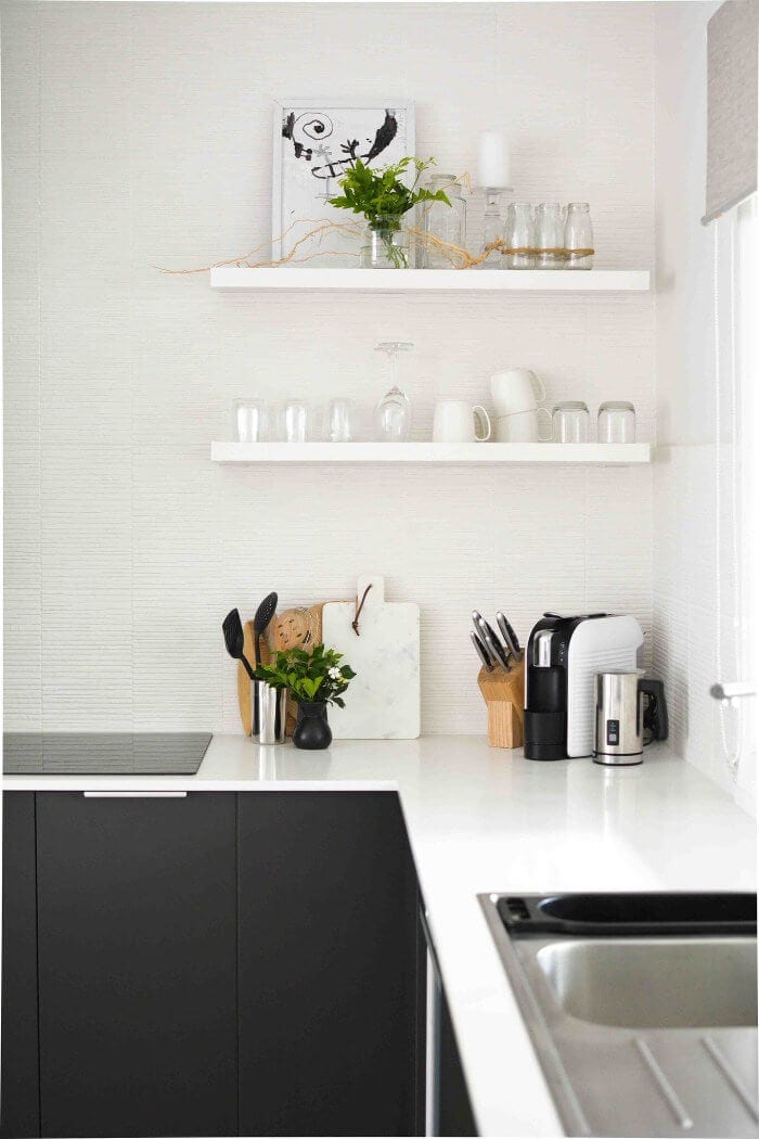Scandinavian Design Kitchen Ideas Floating Shelves in White Kitchen