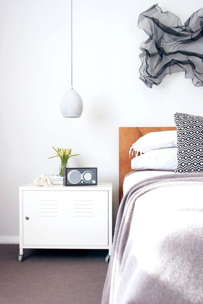 White Industrial Bedside Table in Scandinavian Designed Bedroom