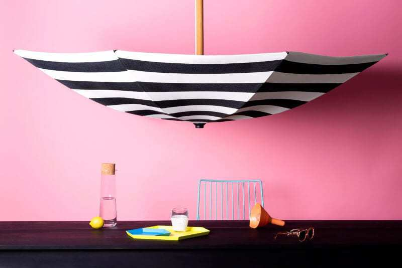Basil Bangs Black and White Striped Outdoor Umbrella on TLC Interiors
