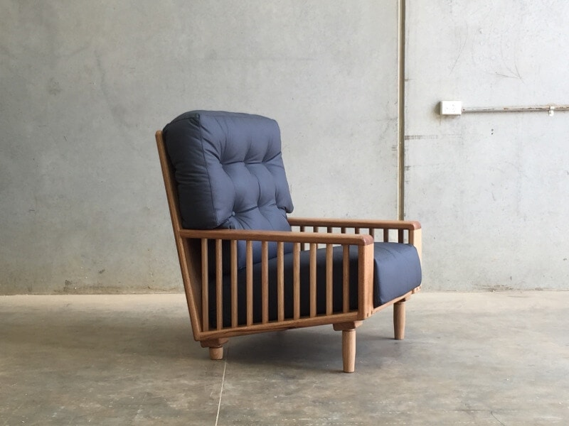 Blue leather armchair by Handkrafted