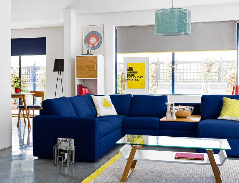 Inteior Design Trends 2016 TLC Interiors Blue Red and yellow living room