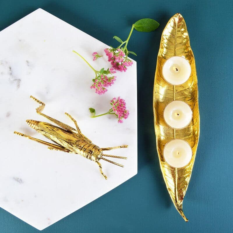 Interior design trends 2016 marble tray with gold cricket and gold leaf