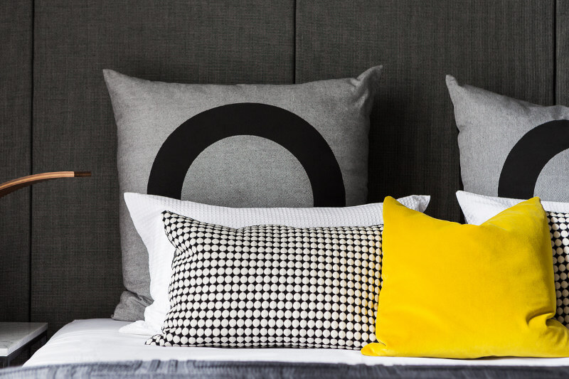 Yelow Black and Grey bedding High Street Style Metricon Homes