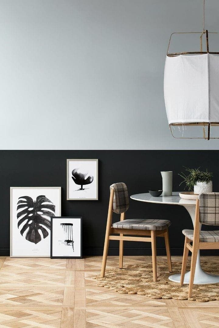 Black and Grey Feature Wall Black Paint Dining Room Ideas by Haymes on TLC Interiors