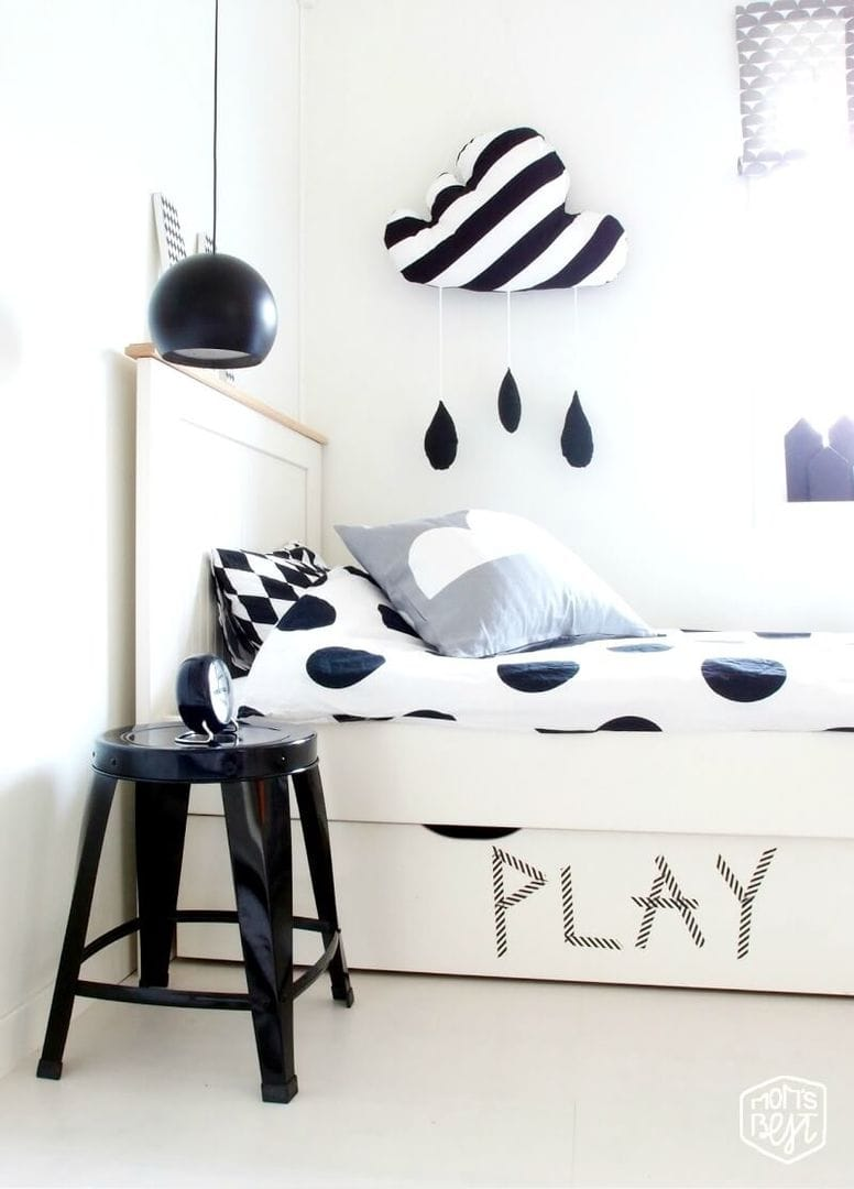 Black and White Kids Room on The Life Creative polka dot kids bedding