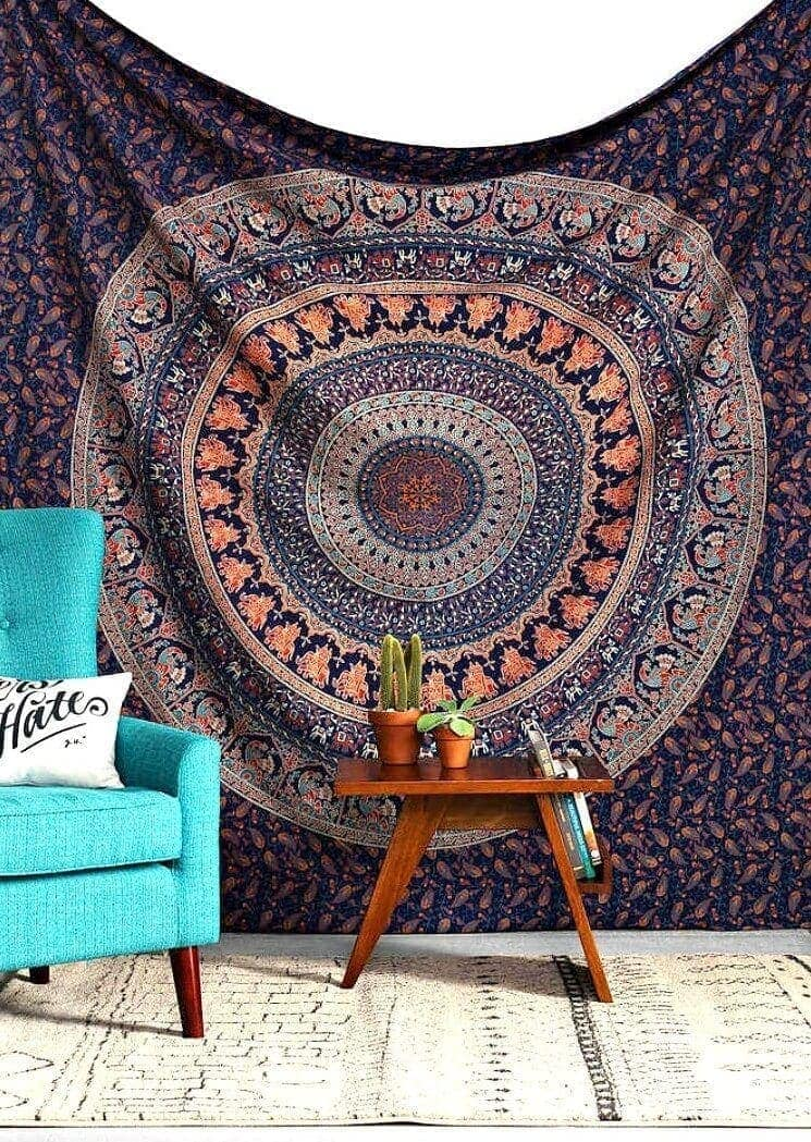 Bohemian rug on wall Boho decorating ideas on The Life Creative