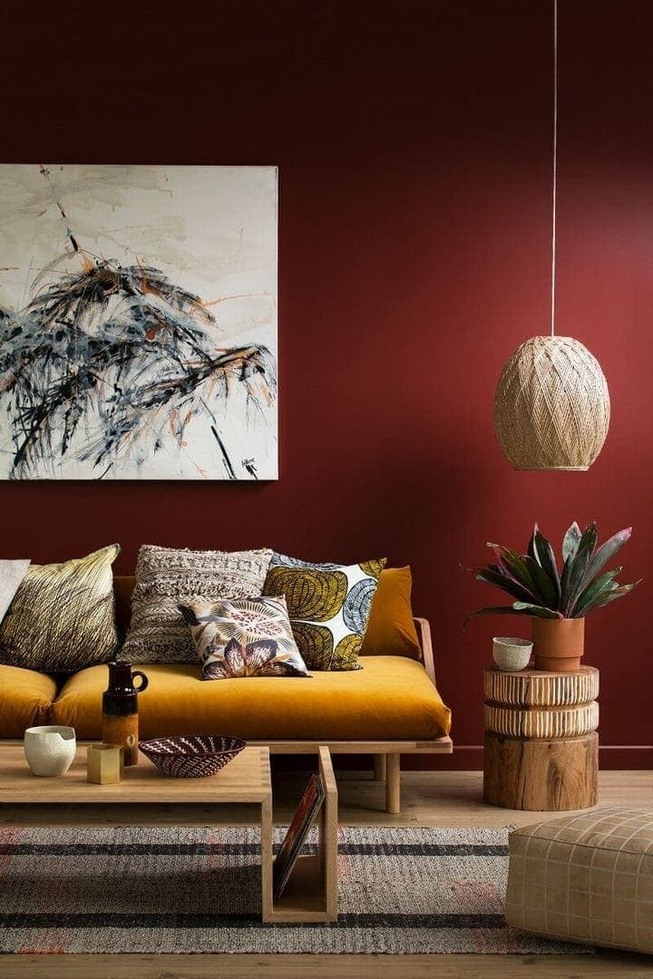 Deep Red Feature Wall Maroon Living Room By Haymes Paint On The Life  Creative Part 73