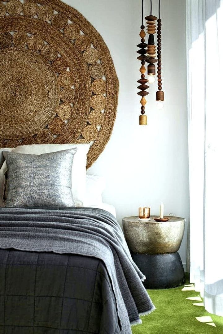 Jute Rug on Wall with wooden pendant lights Boho Bedroom on The Life Creative