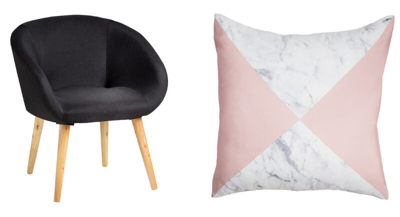 Kmart homewares 2016 fabric armchair and marble cushion