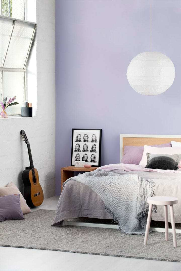 Lavender Walls Feminine Bedroom Ideas by Haymes Paint on The Life Creative
