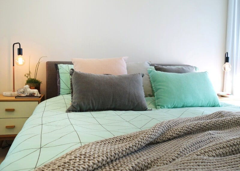 Mint Green and Charcoal Grey Bedding on The Life Creative